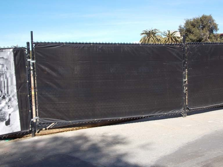 6u2032 black vinyl temporary fence vehicle gate with black signature 96 screen stanford ca