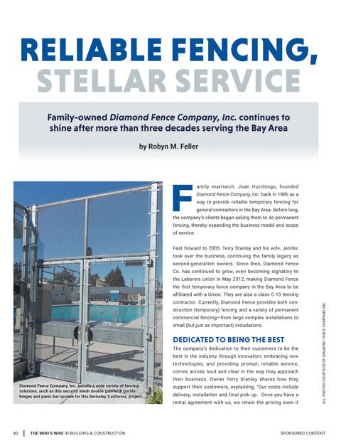 Permanent And Temporary Fencing Diamond Fence Company